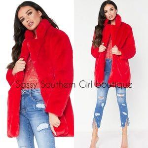 ⭐🆕Red faux fur coat jacket